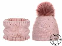 Girls Winter Set Hat with Pom Pom, Snood with Beads