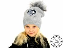 Girls Winter Hat with Pom Pom and Reversible Sequins