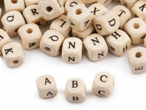 Wooden Beads with Letters 10x10 mm