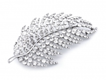 Rhinestone Brooch Leaf / Feather