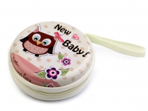 Metal Round Zip Case Ø7 cm Owl